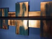 deco design abstrait etagere murale turquoise cuivre : Etagère