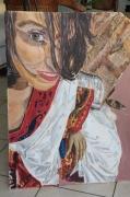 tableau personnages indienne au sari : selfie indien
