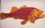 tableau marine merou hug devi tissus lin tenture : mérou