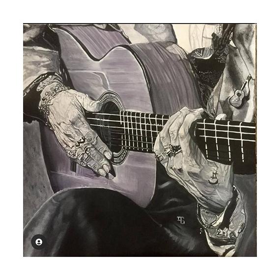 TABLEAU PEINTURE flamenco Camaron Andalousie danse guitare Personnages Peinture a l'huile  - Camaron la leyenda