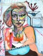 tableau autres femme intuition contemporain receptacle de joie n : L'algue rouge