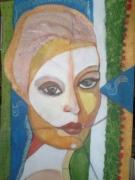 tableau personnages femme lumiere contemporain vibratoire : Révélation