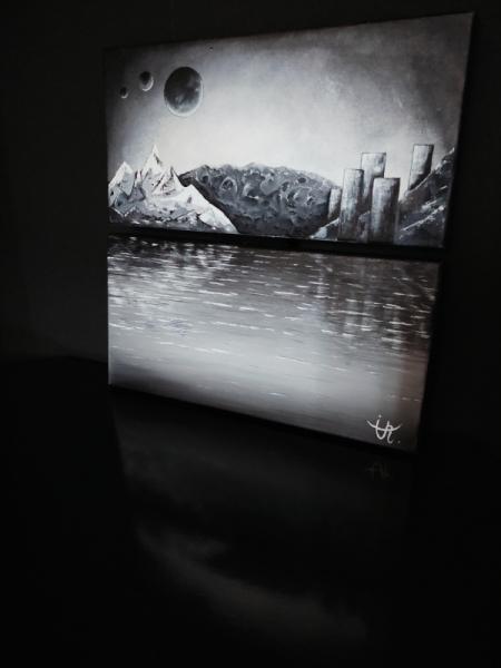 """TABLEAU PEINTURE Tableau dyptique noir et blanc moderne Acrylique  - """" Nouveau monde """""""