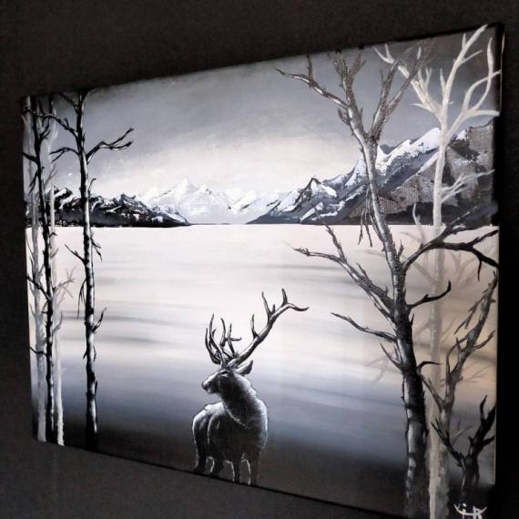 """TABLEAU PEINTURE Peinture acrylique noir et blanc unique moderne Paysages Acrylique  - """" Majestueuse Nature """""""