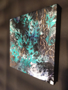 """tableau abstrait peinture abstraite peinture pouring peinture fluide peinture moderne : """" Pouring Mille feuilles """" Num : 00008"""