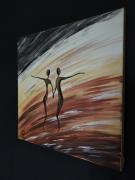 """tableau personnages peinture de couple artiste peintre rolland isabelle 30×30 : """" Amour et danse """""""