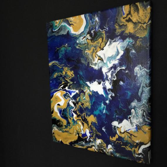 """TABLEAU PEINTURE Peinture Pouring océan peinture unique Marine  - """" Pouring océan """" Num : 00004"""