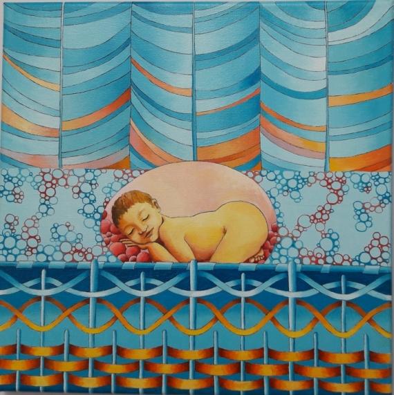 TABLEAU PEINTURE NAISSANCE BEBE DOUCEUR ENFANT Personnages Peinture a l'huile  - Naissance