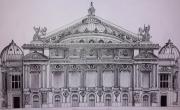 dessin architecture opera garnier musique paris : L'Opéra Garnier