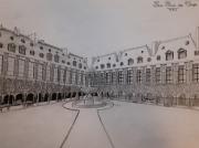 dessin architecture place royale paris henri iv : La place des Vosges
