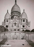 dessin architecture montmartre paris sacrecoeur butte : Le Sacré-Coeur