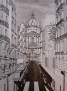 dessin architecture : La rue du Val de grâce et la basilique