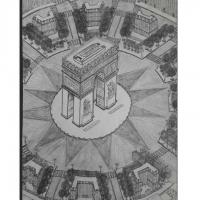 Vue aérienne de la Place Charles de Gaulle étoile et de l'a
