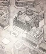 dessin architecture opera garnier musique danse : Vue aérienne de la Place de l'opéra, de l'Opéra Garnie