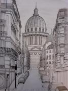 dessin architecture eglise pantheon soufflot : Le Panthéon et la rue des carmes