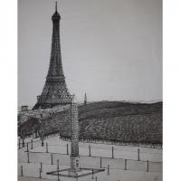 Vue aérienne de la place de la Concorde et de la Tour Eiffel
