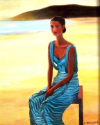 tableau personnages femme robe bleue plage crepuscule : FEMME EN BLEU