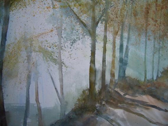 TABLEAU PEINTURE impressionnisme sous-bois Paysages Aquarelle  - sous-bois