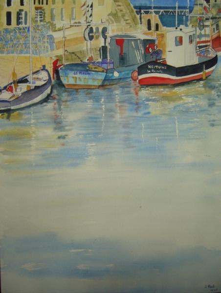 TABLEAU PEINTURE aquarelle port charente maritime Marine Aquarelle  - Saint-Martin-de-Ré