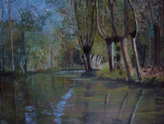 TABLEAU PEINTURE marais poitevin impressionnisme huile Paysages Peinture a l'huile  - marais poitevin