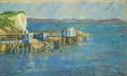 tableau marine carrelets mer charente maritime : carrelets à Talmont s/gironde