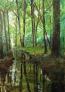 tableau paysages foret reflets impressionnisme : après la pluie