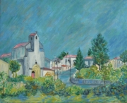 tableau paysages fontcouverte eglise charente maritime : Eglise de Fontcouverte