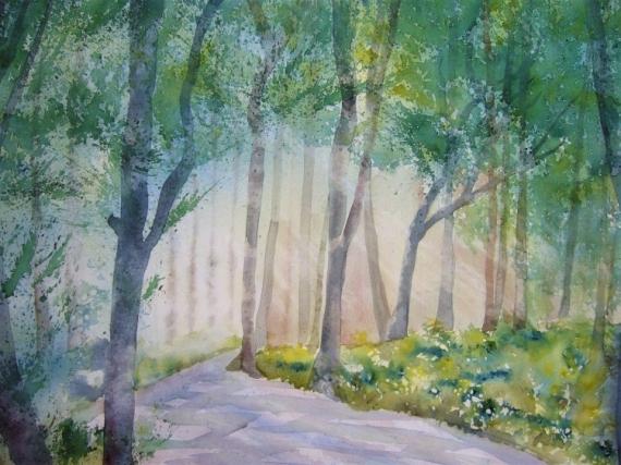 TABLEAU PEINTURE impressionnisme forêts sous-bois Paysages Aquarelle  - sous-bois1