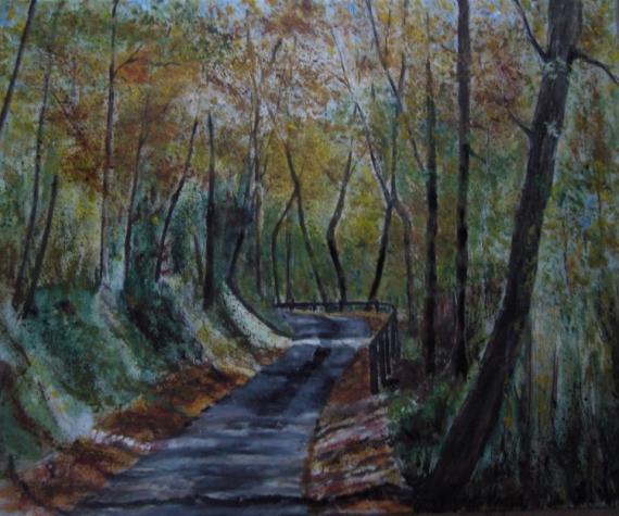 TABLEAU PEINTURE forêt automne fontcouverte Paysages Peinture a l'huile  - route de l'escambouille en automne