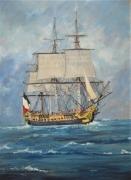 tableau marine hermione mer bateau : L'Hermione