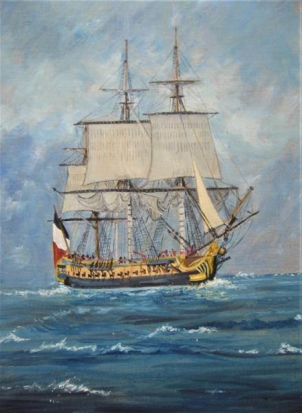 TABLEAU PEINTURE Hermione mer bateau Marine Peinture a l'huile  - L'Hermione