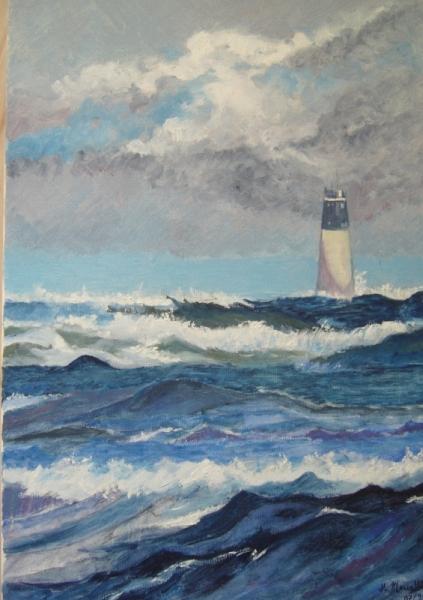 TABLEAU PEINTURE phare mer charente maritime Marine Peinture a l'huile  - phare saint-denis-d'Oléron