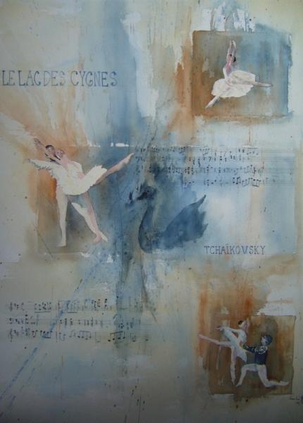 TABLEAU PEINTURE Tchaïkowsky danse aquarelle Scène de genre Aquarelle  - lac des cygnes