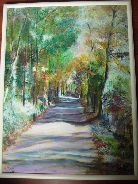 TABLEAU PEINTURE impressionnisme automne charente maritime Paysages Peinture a l'huile  - route de l'escambouille