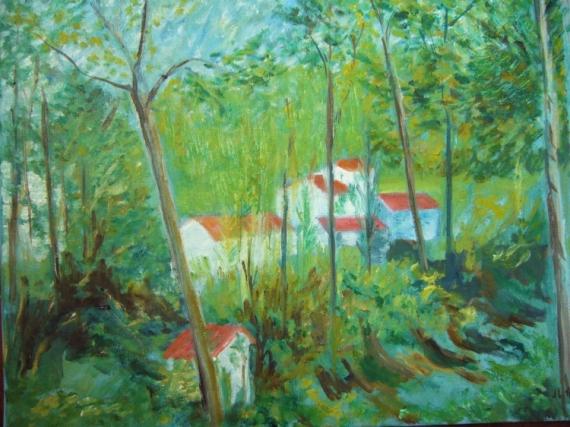 TABLEAU PEINTURE impressionnisme village charente maritime Paysages Peinture a l'huile  - Hameau