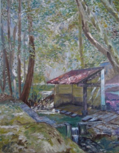 TABLEAU PEINTURE impressionnisme lavoir charente maritime Paysages Peinture a l'huile  - vieux lavoir