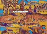 art numerique scene de genre tahitiennes mythologie maoris gauguin : Mahana No Atua Version 1