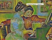 art numerique personnages piano yvonne christine auguste renoir : Yvonne et Chrstine Lerolle au piano Version 2