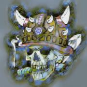 art numerique abstrait mort casque cigare horreur : Tête casquée