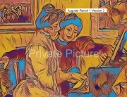 art numerique personnages piano yvonne christine auguste renoir : Yvonne et Christine Lerolle au piano Version 3
