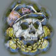art numerique abstrait mort tete de mort chaine casquette : Tête de mort