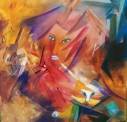 tableau autres femme chat geometrie couleurs : Harmonie