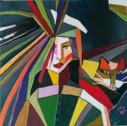 tableau autres femme chat geometrie couleurs : Arlequin