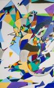 tableau animaux chat mosaique geometrie vide : Coup d'Oeil