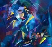 tableau autres femme chat geometrie couleurs : Bleu