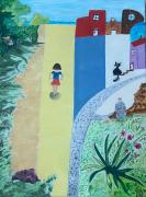 tableau scene de genre aquitaine gironde village enfant : L'instant d'avant