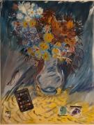 tableau fleurs fleurs bleu portable lunettes : Fleurs bleues et fluorites