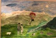 tableau autres montagne riviere montgolfiere personnages : Voyage