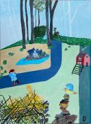 tableau scene de genre gironde monsegur aquitaine enfant : Parfum du matin