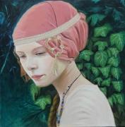 tableau personnages portrait vegetal russe traditionelle : Portrait femme russe